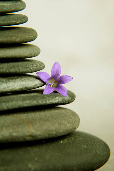 Picture of a stack of smooth stones with a purple flower in the center.